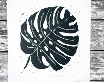 Monstera Cheese Plant A4 Lino Print Art Hand Printed Original Home Gift /// Monstera Deliciosa Leaf