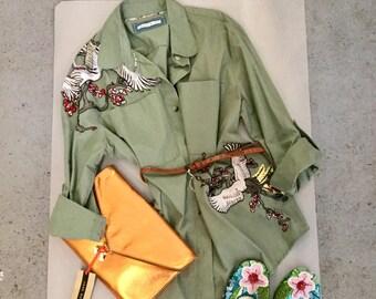 Chinese Embroidered khaki shirt