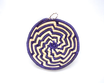 Aztec basket, woven, straw, purple, bowl, wall hanging