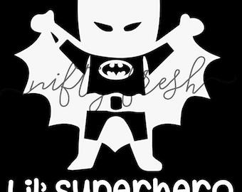 Batman Lil Superhero Baby in Car on Board Child Infant Toddler Kid Children Vehicle Window Decal Die Cut Bumper Vinyl Sticker White