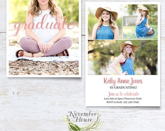 Rose Gold Graduation Card Template, Senior Graduation Announcement, Senior Photography, Photography Marketing, Instant Download