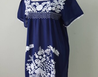 Mexican Short Dress, Navy Blue Dress with Hand Embroidery, Oaxacan Dress