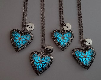 Set of 4 Best Friend Necklaces, BFF, Glow in the Dark Necklace, Heart Locket, Gifts for Her, Personalized Initial Necklace