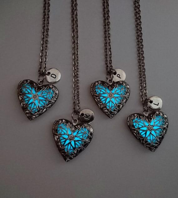 Set of 4 Best Friend Necklaces BFF Glow in the Dark