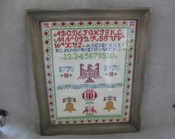 Vintage Framed Bicentennial USA Needlepoint Art - Wall Hanging Completed Framed Cross Stitch Wall Art  1775 to 1976