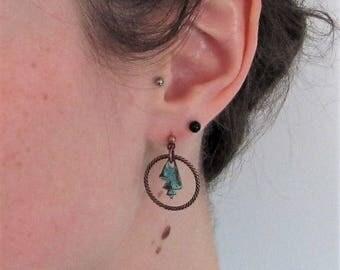 Copper Earrings, Verdigris Earrings, Shell Earrings, Verdigris Copper Earrings, Sea Jewelry, Ocean Jewelry, Ocean Earrings, Sea Earrings