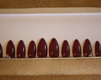 Dusty Rose Swarovski nails press on nails