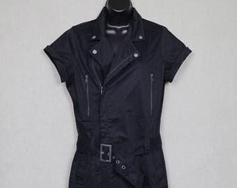 1980s black dress, zippers, punk gothic new wave, garage mechanic coverall style shirt dress, 1980s LBD, cotton shirtdress