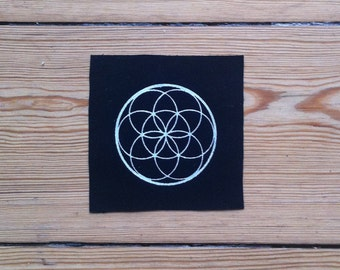 flower of life Patch, sew on patch, sacred geometry patch, Black Patch, punk patch