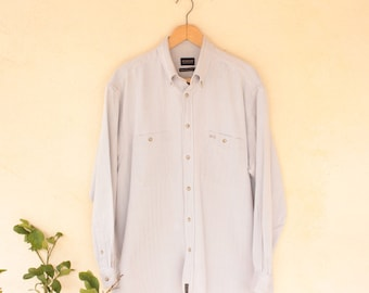 Vintage Long Sleeved Grey Herringbone Shirt - Size Extra Large