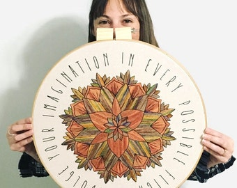 """18"""" Embroidery Art - Indulge Your Imagination, Jane Austen - XL Hand Dyed Yarn Embroidery Hoop Art in Naturals Hand Stitched by Creatiate"""