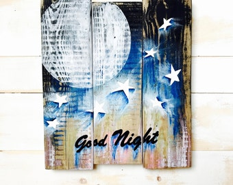 MOON & STARS,Nursery Decor,Moon and stars Nursery Decor,Rustic Nursery Decor,Nursery Wall Decor,Nursery Wall Art, Painting on Wood,Nursery