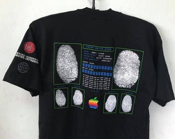 1996 MISSION IMPOSSIBLE APPLE Macintosh Computers 90s Movie Promo T Shirt / Size Large Free Shipping