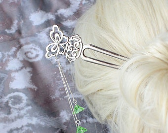 green hair jewelry silver butterfly hair pick spring wedding hair accessory green bridesmaid hair stick wife gift bridal hair jewelry h17
