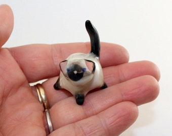 Miniature porcelain siamese kitty cat, wee ceramic clay siamese kitten, siamese cat, collectable figurine