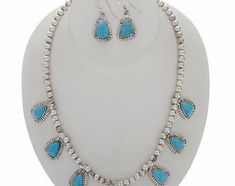 Blue Turquoise Silver Bead Necklace Set French Hook Earrings
