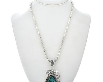 Turquoise Navajo Silver Pendant with Bead Necklace
