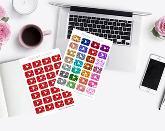 MINI SHEET - Vibrant Red and Multicolor Glitter Youtube Filming Vlogger Play Button Icon Planner Stickers