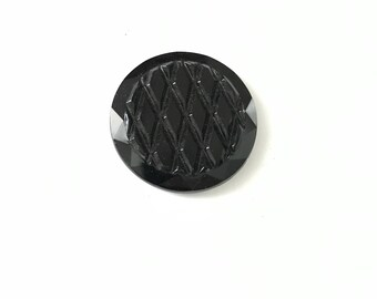 Vintage Carved Etched Diamond Quilted Jet Black Glass Circle Cabochon