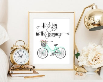 Find joy in the journey, typography art print, floral bike art print, travel art print, journey quote, travel print, floral bicycle art