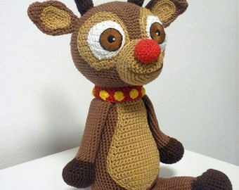 Crochet Pattern Reindeer Amigurumi  PDF Cute Christmas Toy Genuine Eyes Stuff Toy For Children Animal With Bells Red Nose Embroider EBook