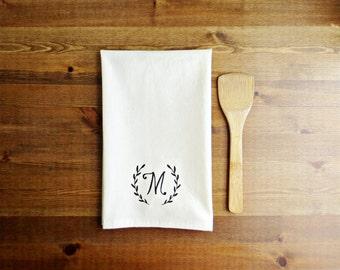 Laurel Initial Decorative Kitchen Towel // Unbleached Cotton Muslin