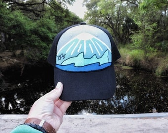Fish Alaska custom hand painted hat