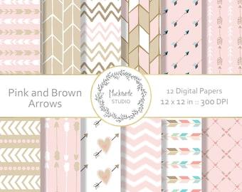 Pink and Brown Arrows digital paper - Tribal clipart - Scrapbook paper, Arrows Digital Paper, Pink and Brown Digital Paper, Commercial use