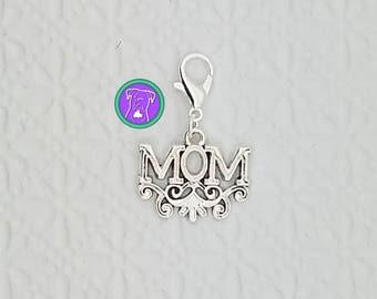 Mom charm, mom bracelet charm, zipper pull, purse charm, mom clip on charm, Fast Shipping from USA CS552B