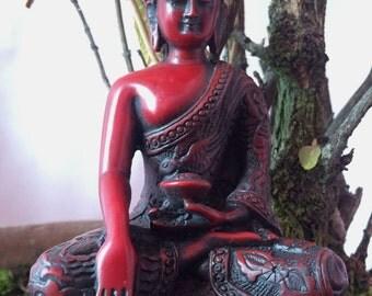 "Dragon Carving Shakyamuni Buddha  5.5""H  Resin Statue"