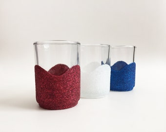Red White and Blue Decor - 4th of July - Independence day - Patriotic Party Decor - Tealight Holders - Table Decor - Glitter Candle Holders