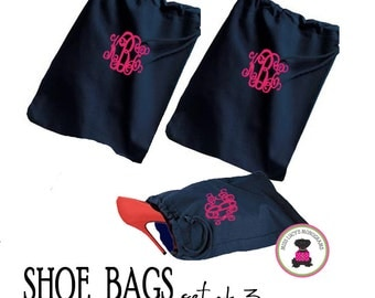 Monogrammed Set of 3 Shoe Bags for Travel  -  NAVY  - FREE SHIP