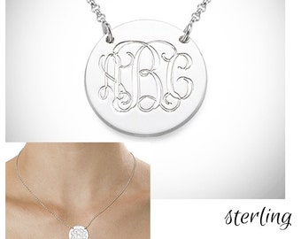 Monogrammed Sterling Disc Necklace - 5 Chain Lengths - FREE SHIP