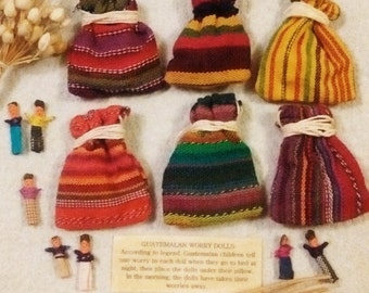 Guatemalan Worry Dolls In Woven Drawstring Pouch With Gift Box