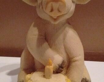 Collectable ~ Piggin' Happy Birthday ~ By David Corbridge ~ Hand Made ~ 1995