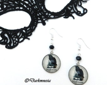 Earrings, raven, crystal, black, cabochon, halloween, crow, gothic, goth