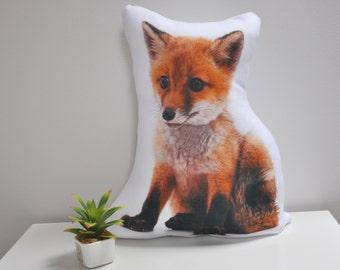 INTRO SALE! Red Fox Pillow, Forest Animal Pillow, Home Decor, Cabin Decor, Nursery Decor, Forest Animal Cushion, Printed Fox Cushion