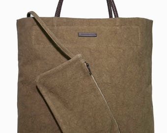 20% OFF FOR FATHERSDAY2017; Sand Green Colored Italian Linen Shopper; Tote; Braided Leather Handles; Casual Tote; Trendy!; Match It!