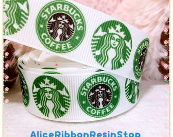 3 yards Starbucks logo grosgrain ribbon, Starbucks ribbon, Starbucks coffee ribbon, hair bow ribbon, grosgrain ribbon, hair bow DIY