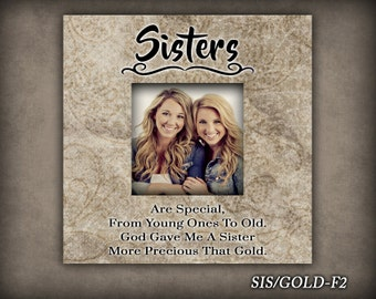 SIS/GOLD: Photo Frame, Gift For Sister, Frame For Sister, Home Decor, Christmas Gift, Birthday Gift, Photo Frame For Sister, Home and Living