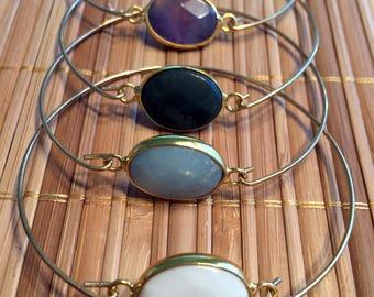 Onyx - silver ring 925 Golden bracelet and white onyx stone - gemstone bracelet