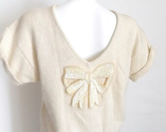 Cream Lambswool Angora Sweater / Sequin Bow Top / Vintage Knitted Sweater / 1980's V- Back