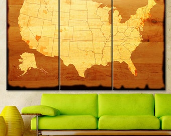 Large USA, Wall Art, Map Canvas Print, Large USA Map, Wall Art USA, united states map, states map, Map on canvas, brown Map tone, Home decor
