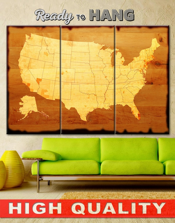 Large USA Wall Art Map Canvas Print Large USA Map Wall Art