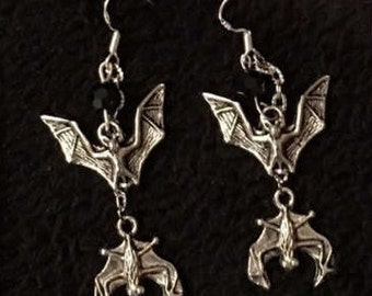 Gothic earrings with bats, silver and black