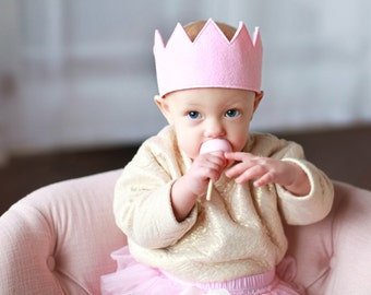 Full Felt Crown || Full Birthday Hat with Ribbon Tie Back || Baby Girl Gift || Baby Pink