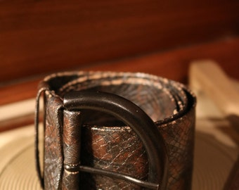 True vintage 80's belts leather optics of 96 cm snake skin belt wide