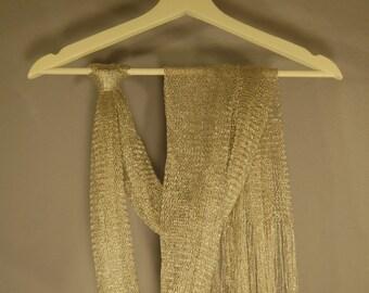 True vintage scarf 70 200cm 2m scarf Netzschal Lurex silver net silver