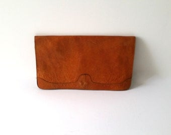 Awesome light brown soft leather clutch