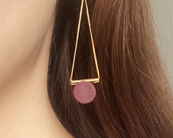 Gold Threader Burgundy or Olive Green Leather Earrings, Geometric Long Chain Gold Earrings